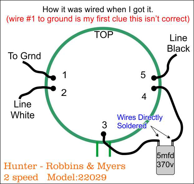 hunter robbins myers floor fan model wiring diagram post the wire numbers are arbitrary i just picked a wire as 1 and went around while the wires on the cap were ered i am suspect of even this being correct